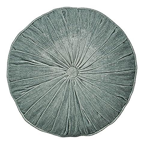 Paoletti Wellesley Chenille Velvet Woven Filled Round Cushion, Duck Egg Blue, 40 Cm