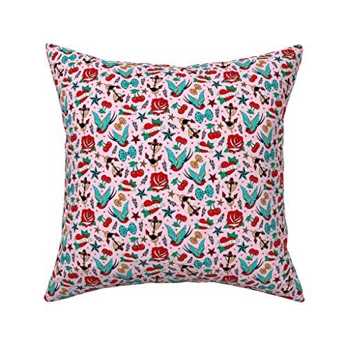 MrRui Decorative Pillow Covers Rockabilly Love Square Kissenhülle Cotton Kissenbezug Home Decor for Sofa Car Bedroom 18x18 Inch
