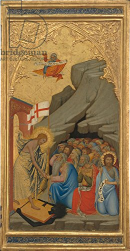 "Poster-Bild 50 x 100 cm: ""Scenes from the Passion of Christ: The Agony in the Garden, left panel, c.1380 (egg tempera & gold leaf on wood panel)"", Bild auf Poster"