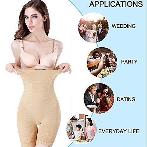 Biddtle Shapewear Damen Miederhosen Bauch Weg Figurformender Hohe Taille Push Up Miederslip Miederpants Body Shaper,Beige,XL - 4