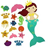 Faylapa PIN den Schwanz auf der Mermaid Party Spiel mit Filz abnehmbaren Ornamente für Kindergeburtstag Party Zimmerwand hängende Dekorationen, 14ST DIY Ornamente, Meerjungfrau Körper (39,4 inch X 17,3 inch)