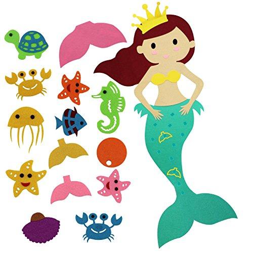 Faylapa PIN den Schwanz auf der Mermaid Party Spiel mit Filz Abnehmbaren Ornamente für Kindergeburtstag Party Zimmerwand hängende Dekorationen, 14ST DIY Ornamente, Meerjungfrau ()
