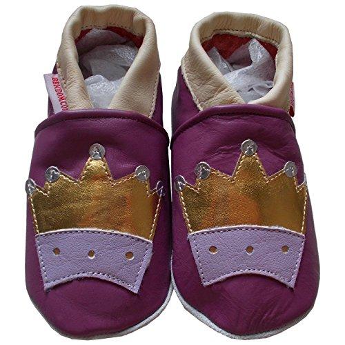 bbkdom - « Queen» Chaussons cuir souple bébé et enfant de 0 à 6 ans Violet