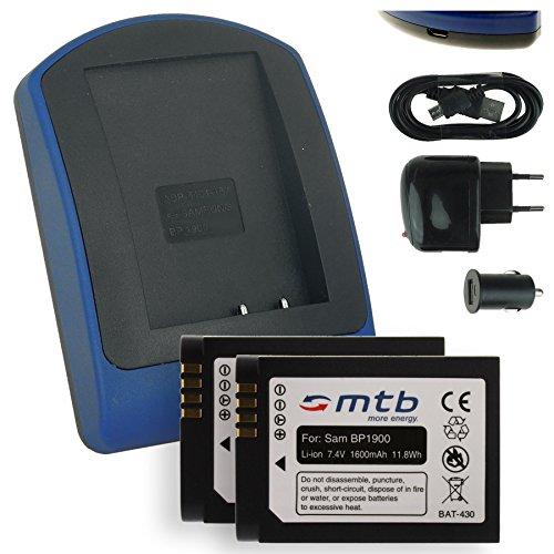 2x Batteria + Caricabatteria (USB/Auto/Corrente) BP1900 per Samsung Smart Camera NX1 NX-1 (7.4V - 1600mAh - con INFOCHIP)