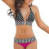 OverDose Damen 2PCS Streifen Bikini Sets Frauen Bikini BH Badeanzug Bade Beachwear Tankini Swim Suits(Hot Pink,XL)