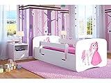 Kocot Kids Kinderbett Jugendbett 70x140 80x160 80x180 Weiß mit Rausfallschutz Matratze Schublade und Lattenrost Kinderbetten für Mädchen und Junge - Prinzessin und Pferd 180 cm