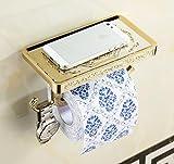 LiebHome Zink-Legierung Luxus Antik Stil Toilettenpapierhalter Gold poliert Klopapierhalter / multifunktional papierhalter mit Smartphone Ablage und 1 Set - Handtuch Haken für Badzimmer schöne Design