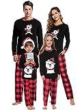 Aibrou Vater Winter Schlafanzüge Karierte Schlafanzug lang Weihnachten Rundhals Zweiteiliger Pyjama Set, Langarm Shirt und Karierte Pyjamahose Rot XL