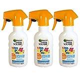 Garnier Ambre Solaire Sonnenschutz Spray Kids / Sonnenspray für Kinder extra wasserfest / LSF 50+, 3er Pack - 3 x 200 ml