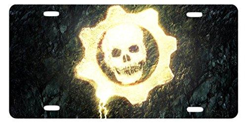 DQVWGK Gears of War Skull Custom Aluminium License Plate Frames für Auto License Plate Cover mit 4Löchern Auto-Tag 15,2x 30,5cm