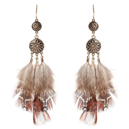 LUOEM Feder Ohrringe Vintage böhmischen Stil für Frauen - Pocahontas Paar Kostüm