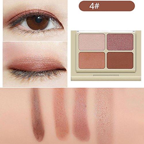 Fards à paupières,4 couleurs femmes maquillage cosmétique neutre nue palette de fards à paupières chaud par LHWY (D)