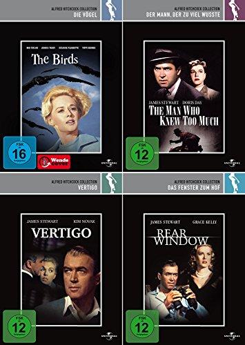 Alfred Hitchcock Collection | Die Vögel + Vertigo + Das Fenster zum Hof + Der Mann der zu viel wusste (4-DVD)