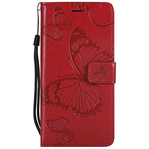 Dendico cover huawei p9 lite, pelle portafoglio custodia per huawei p9 lite custodia a libro con funzione di appoggio e porta carte di crossoito - rosso