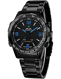 Alienwork DualTime Reloj Digital- Analógico Multi-función LED Acero inoxidable negro negro OS.WH-1009-B-5