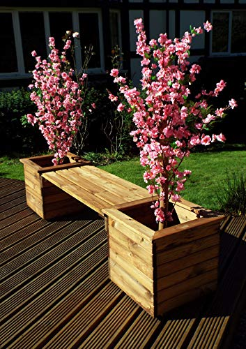 Home Gift Garden Wooden Planter Bench - Solid Wood Outdoor Patio Decking Furniture