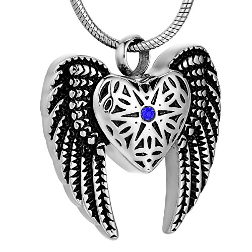 (Blue) - ZCBRISK Eagle Wing & Love Heart Cremation Jewellery with Diamond Memorial Keepsake for Ashes Urn Pendant - Blue Eagle Wings