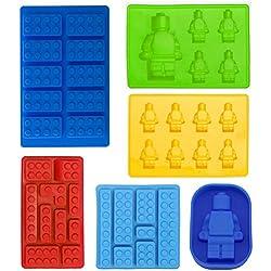 Robot Cubito de hielo bandeja molde de silicona, Candy moldes, moldes para Chocolate, para niños del partido y hornear Minifigura Building Block temas, juego de 6pcs