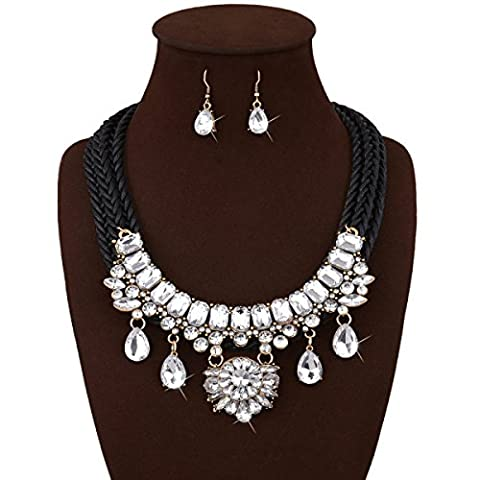 FAONL Europe And The United States Fashion Necklace Personalized Hand Woven Gem Exaggerated Necklace Earrings