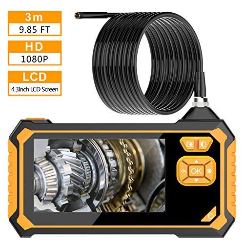 VITCOCO Endoscopio industrial, 1080P HD 4.3 Pulgadas Pantalla LCD Cámara de Inspección IP67 a prueba de Agua con 6 Luces LED, 2600mAh Litio Batería Grabadora de Video Digitale Endoscopio -3m