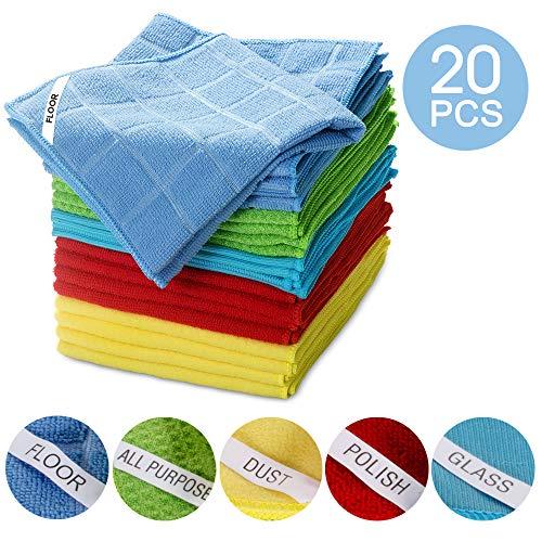 Masthome - 20 panni in microfibra per la pulizia di auto e cucina, 35 x 35 cm, lavabili in lavatrice