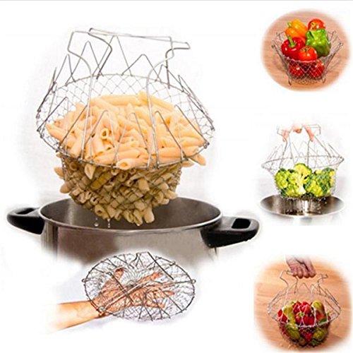 LaDicha Edelstahl Faltbar Korb Gebraten Kartoffel Chips Sieb Outdoor BBQ Picknick Lagerkörbe (Korb Chip)