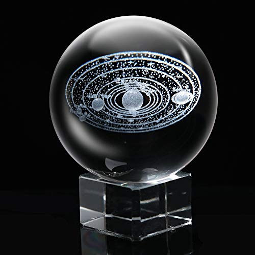 KNDJSPR 3D Solar System Crystal Ball Galaxy Glass Sphere Globe Paperweight Healing Meditation Balls Cosmic Model mit Klarsicht-Stand für Home Office Decor Creative Gift - Crystal Stand
