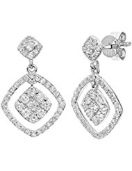 Naava femme  18 carats (750/1000)  Or blanc|#Gold Rond   Blanc Diamant FINEEARRING