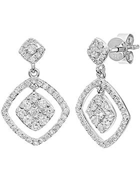 Naava 18ct Weiß Gold 0,65ct Diamant Quadratisch baumeln Drop Ohrringe