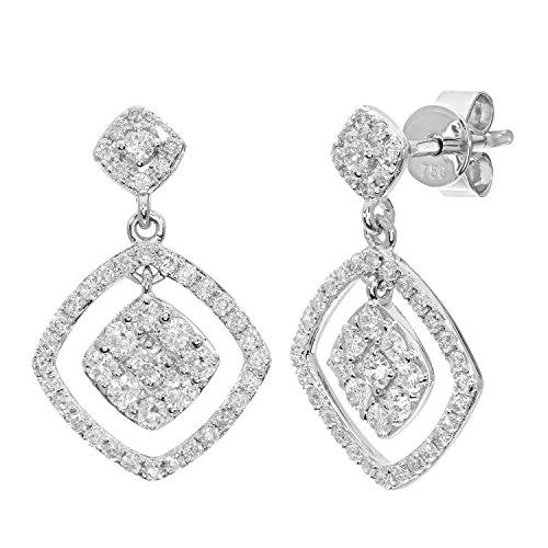 Naava Women's 18 ct White Gold 0.65 ct Diamond Square Dangle Drop Earrings