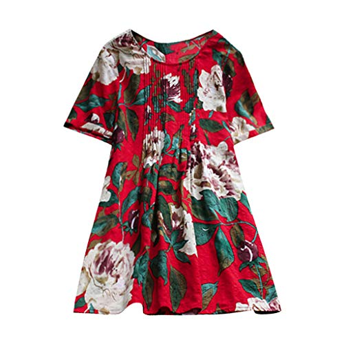 iYmitz Sommer Damen Plus Size Frauen Blumenmuster Lässige Kurzarm Drucken T-Shirt Rundausschnitt Tops Shorts Oberteile(Rot,EU-38/CN-S)