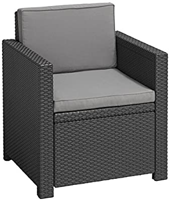 Allibert Lounge Victoria Dining Sessel, graphit/cool grau, 65 x 63 x 77 cm, robuste Kunststoffstühle Garten