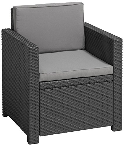 Allibert Lounge Sessel Victoria mit Kissen, graphit/cool grey -