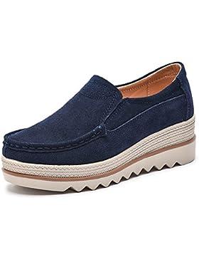NEOKER Damen Mokassins Plateau Wildleder Schlupf Loafers Halbschuhe Sneaker mit Keilabsatz 5cm Schwarz Blau Khaki...