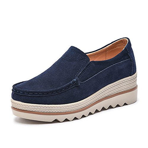012178c8523baa NEOKER Women Ladies Loafer Flats Platform Shoes Slip on Suede Moccasins  Summer Low top Wedge Sneakers