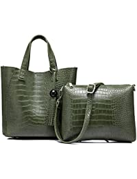Leather Handbags Cross-body Purses Women Vintage Shoulder Bag With Tassel By Realer(Army Green)