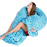 wangwtry Handgewebte verdrehte Wolldecke Chunky Knitted Blanket Klimaanlage Decke für Wohnzimmer Sofa