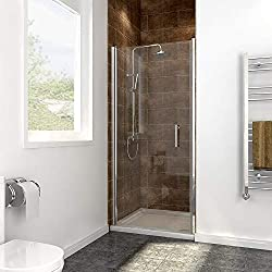 SIRHONA porte de douche 90 x 185 cm porte pivotante en niche, 6 mm verre securit
