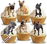 Tortenaufleger, Motiv Französische Bulldogge, vorgeschnitten auf Reispapier, für Cupcakes und Torten, Partydekoration