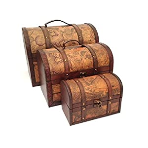 Case sul Trend Treasure Chest Vintage Colonial Mappa Atlas Design deposito Tronco Wedding Post Box