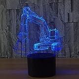 3D Night Light Display Glow 7 Cambio de Color USB Touch Button Y Control Remoto Inteligente Mesa de Escritorio de Iluminación Bonito Regalo Decoraciones para el Hogar Juguetes (Excavadora)