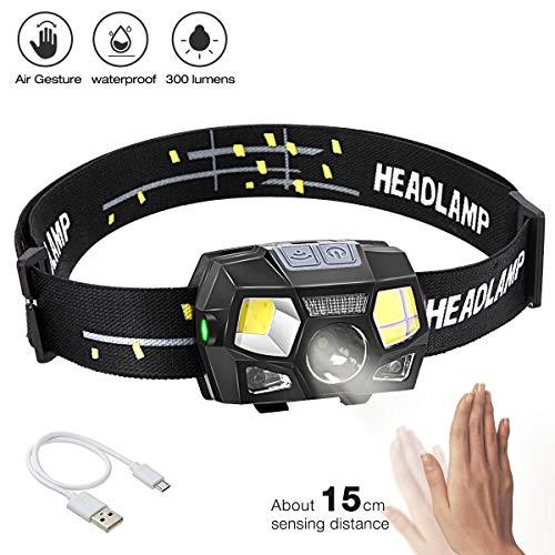 BACKTURE Stirnlampe, 300 Lumens Super hell USB Wiederaufladbare LED Mini Kopflampe, 5 Modi Arbeit Stirnlampe, Stirnlampe LED Wasserdicht mit Geste Sensor für Camping Angeln Joggen