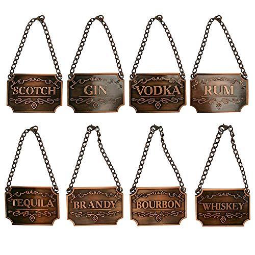 Weinflaschen-Dekanter-Etikett Kettenverstellbare 8-teilige Luxus-Dekanter-Etiketten für Whisky Bourbon Scotch Gin Rum Vodka Tequila und Brandy (Copper)