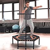 ISE Mini Fitness Trampoline,Ø 122 cm,Indoor Trampoline with Height-adjustable Grab Handle, Endurance Training