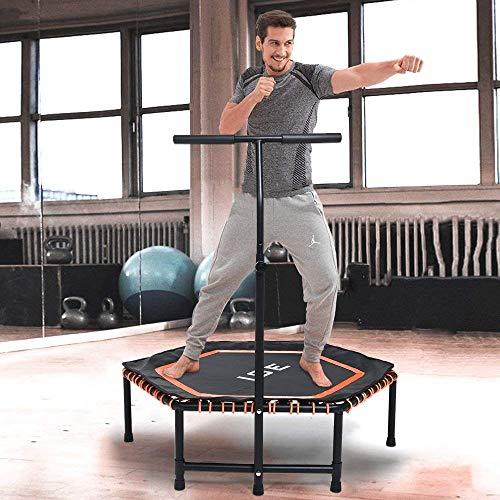 ISE Fitness Trampolin,Trampolin für Jumping Fitness Ø 120 cm höhenverstellbarer Haltegriff(113.5-134.5cm),leise Gummiseilfederung,Nutzergewicht bis 120kg,TÜV-Geprüft SY-1105-OR(Orange)