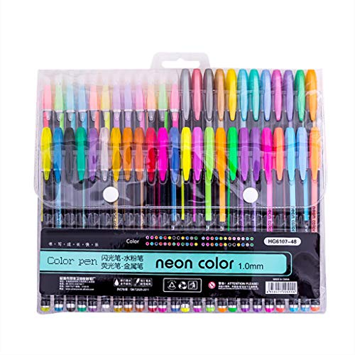Dapei 48 (Farben) Stück Marker Pens Tintenroller Pastell Neon Glitter Pen Kreativ Farbstift Wasserkreide Student Schreibwaren Bürobedarf Pen für Kinder Erwachsene, Schreibfarbe Bunt