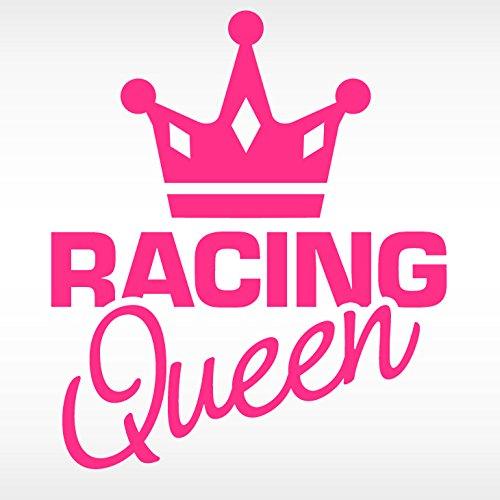 X8085 Autoaufkleber Racing Queen + Krone weiß ()