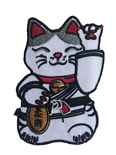 BJJASIA Martial Arts Jiu Jitsu Kitty Cat Black Belt Maneki-Neko Tactical Morale Gear Patch Aufnäher Aufbügler - Neko Kitty Kostüm