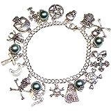 Gothic Gemstone Handcrafted Charm Bracelet w/ Green Pearls
