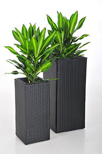 """floristikvergleich.de Blumenkübel Pflanzkübel Pflanzgefäße Übertöpfe Blumentöpfe Polyrattan""""Block Design"""" schwarz 80/62cm"""